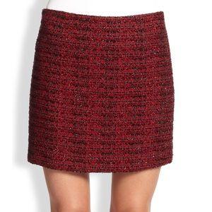 Alice + Olivia Elana Metallic Red Mini Skirt Sz 0